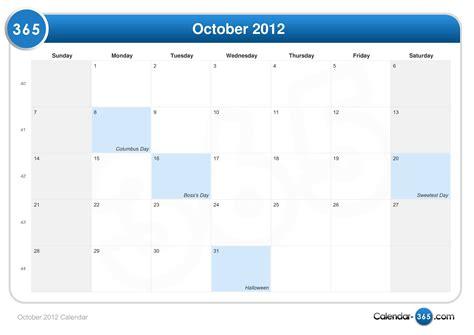 October 2012 Calendar October 2012 Calendar
