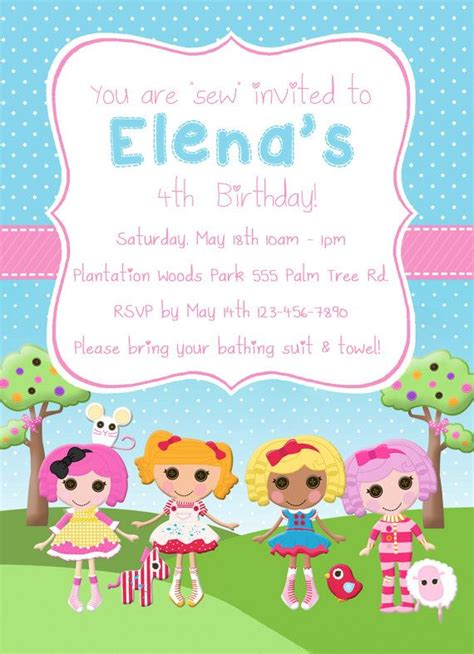 lalaloopsy birthday invitations party invitations ideas lalaloopsy invitation digital file
