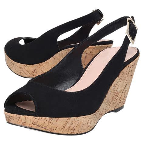 carvela kurt geiger klix wedge heeled sandals in black lyst