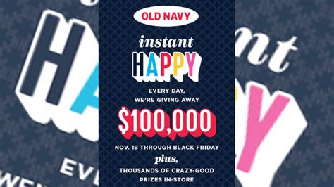Old Navy Sweepstakes - old navy canada celebrates black friday with daily 100 000 instant happy sweepstakes