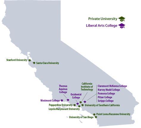 california map of colleges top college values in california