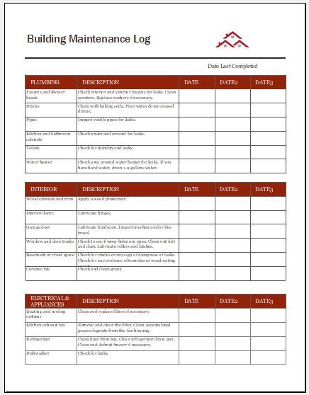 Building Maintenance Log Templates Word Excel Templates Building Maintenance Budget Template