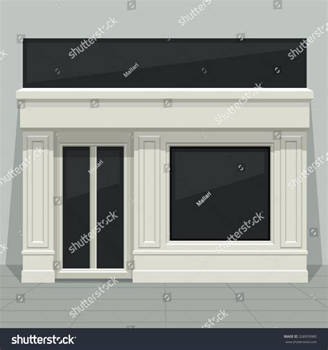 front door template facade shop store boutique glass windows stock vector