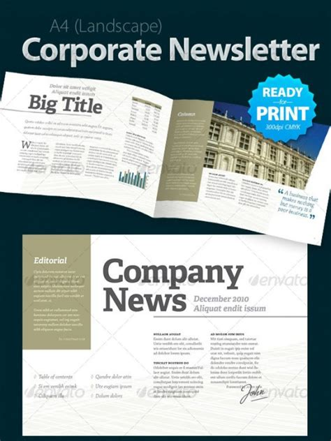 corporate newsletter template a roundup of creative premium newsletter templates