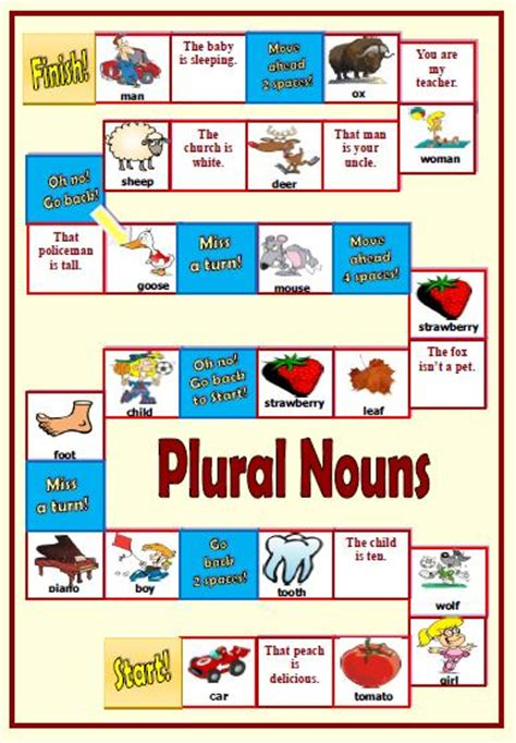 free printable noun board games plural nouns boardgame