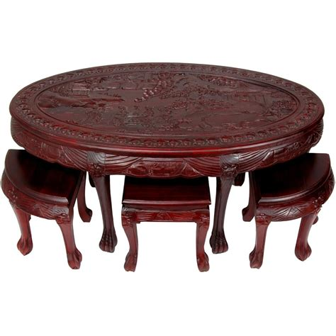 Carved Coffee Table With Stools by Carved Oval Coffee Table W Stools Orientalfurniture