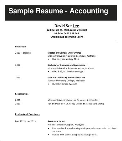 sle resume for internship in accounting in malaysia 10 sle resumes templates pdf doc free