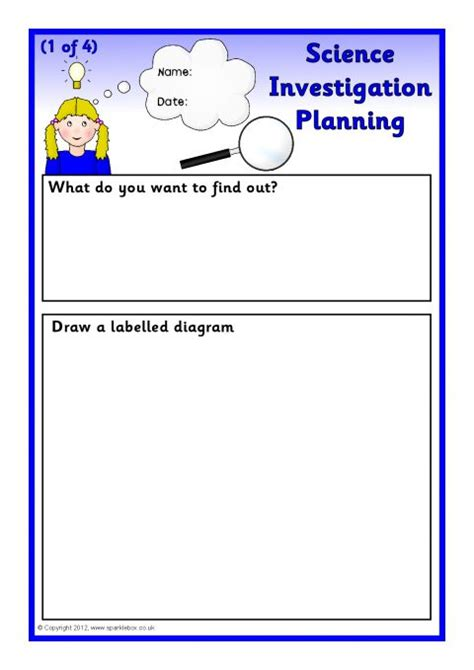 science investigation planning sheets sb7409 sparklebox