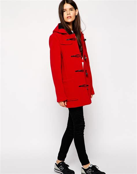 gloverall swing duffle coat gloverall swing duffle coat in red lyst