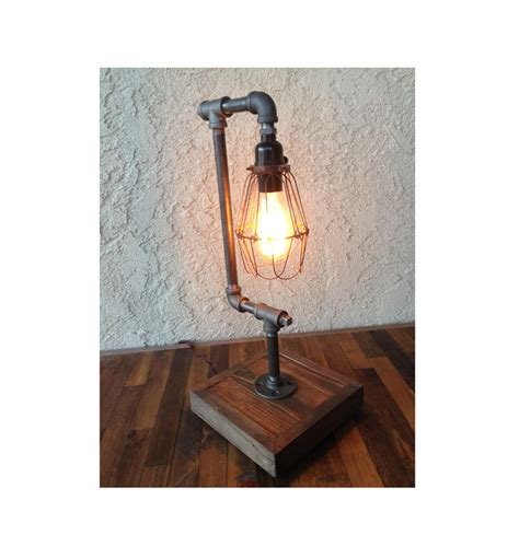 edison desk l bulb included steel pipe reclaimed wood