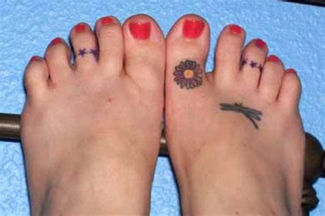 toe ring tattoos designs small flower on foot