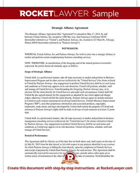 strategic partnership agreement template strategic alliance agreement template strategic