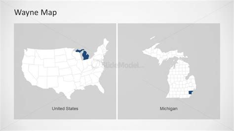 Simple Slide Of Us Map With States Slidemodel Michigan State Powerpoint Template