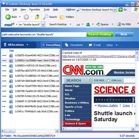 Msn Search Indexing Your Complete Browser History Using Msn Desktop Search Codeproject