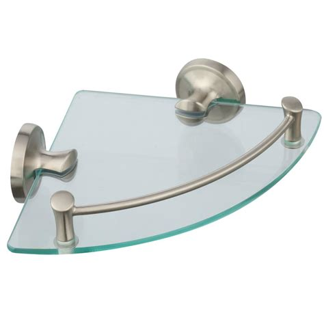 bathroom glass shelves brushed nickel delta 8 in glass bathroom corner shelf in spotshield
