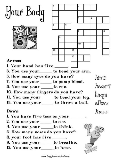 printable crossword puzzle for english learners crosswords for esl