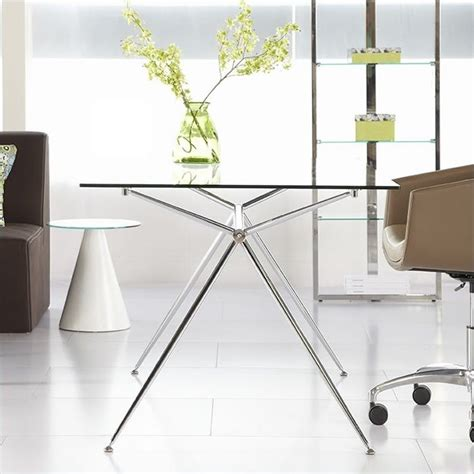 eurostyle atos 60 rectangular desk in clear glass and