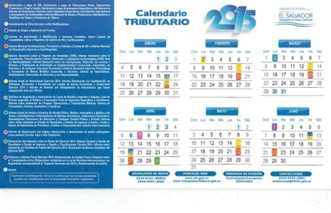 Calendario Tributario 2017 El Salvador Calendario Tributario 2015 El Salvador