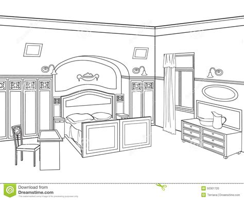 Bedroom Black And White Drawing Bedroom Furniture Room Interior In Retro Style Stock