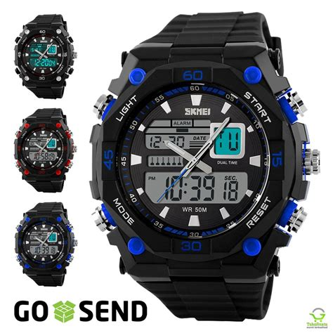 Jam Tangan Pria Sport Casio Original Skmei Gaul Led Anti Air Putih jual jam tangan skmei original sport anti air baru jam