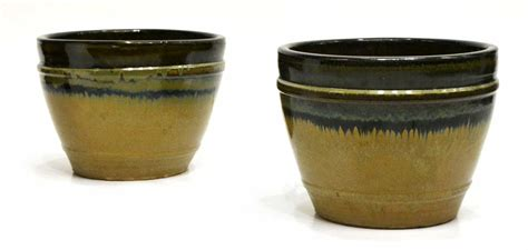 Glazed Planters Large by 2 Large Glazed Earthenware Planters Winter Estates