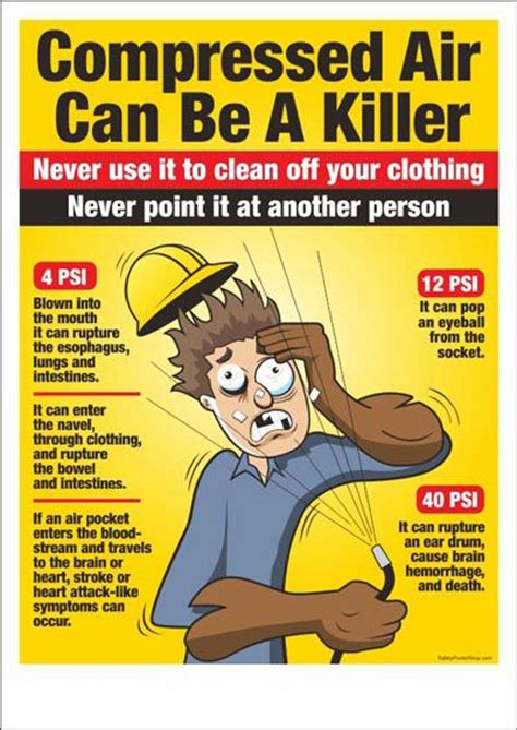 compressed air be a killer safety signs poster safety posters industrial safety ve safety