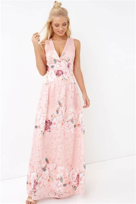 Flower Lace Dress Black Pink Ml pink floral lace maxi dress from uk