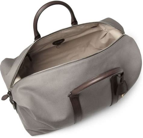 Mulberry Radcliffe Canvas Purse by Mulberry Clipper Leathertrimmed Canvas Holdall Bag In Gray