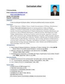 Instrument Mechanic Sle Resume by Instrument Technician