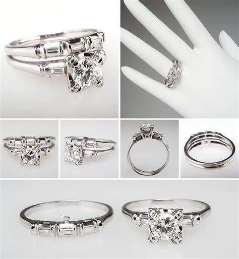 vintage engagement ring and wedding bnd set br0010