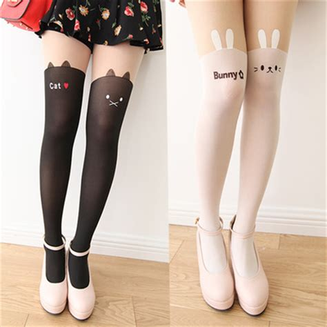 tattoo cat tights cat rabbit head tattoo tights stockings 183 sweetbox store