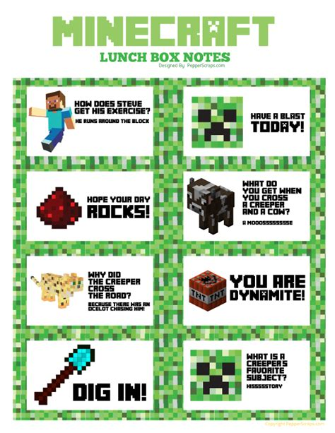 printable minecraft jokes free printable minecraft lunchbox notes note lunches