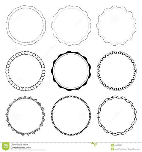 set of 9 circle design frames stock vector image 45683302