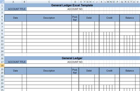 Get General Ledger Template In Excel Xls Exceldox Excel Project Management Templates For General Ledger Template Excel