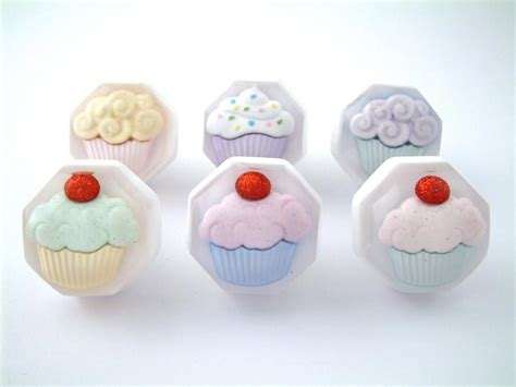 Cupcake Drawer Knobs by Set Of Six Cupcake Cupboard Knobs