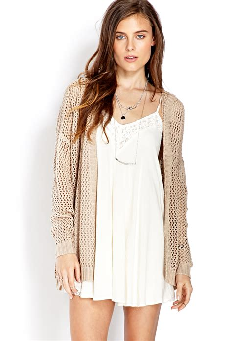 knit cardigan forever 21 forever 21 easy open knit hooded cardigan in beige taupe