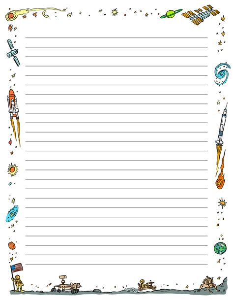 themed writing paper template printable paper space tim s printables