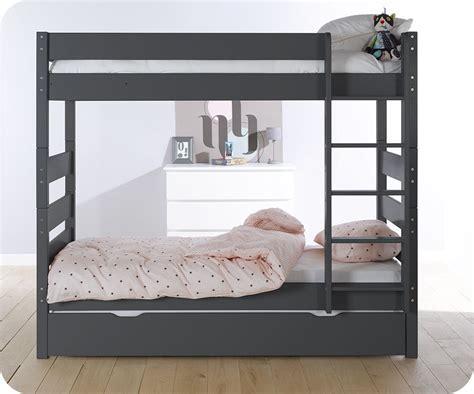 lit superpos 233 gris anthracite 90x190 cm avec sommier