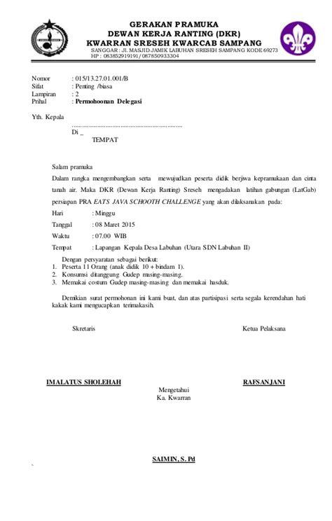 contoh surat mandat pramuka penggalang 28 images contoh surat