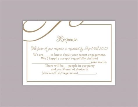 Templates Of Rsvp Cards For Wedding diy wedding rsvp template editable text word file