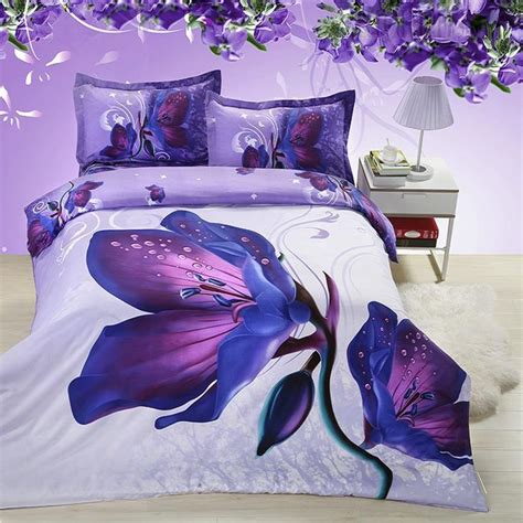 Tommony Bed Cover Magnolia mysterious purple flowers 3d bedding sets 3d bedding sets ericdress 10947873 kristenz