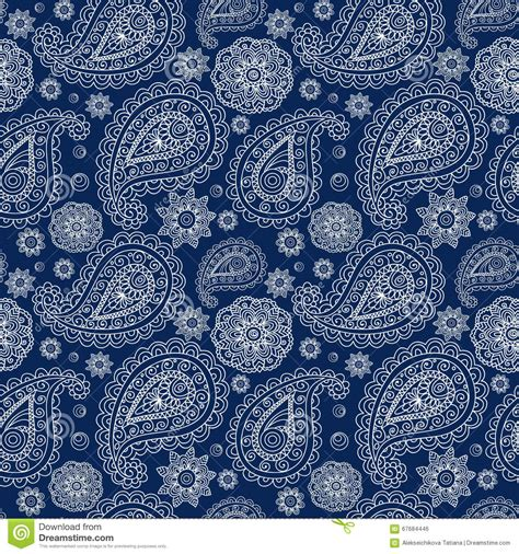 Blue Paisley white paisley on a blue stock vector image 67684446
