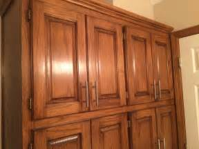 golden oak cabinets enhanced with mahogany gel stain gel