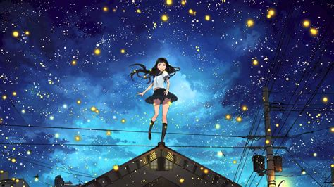 anime girl with fireflies venemy said the sky dreaming youtube