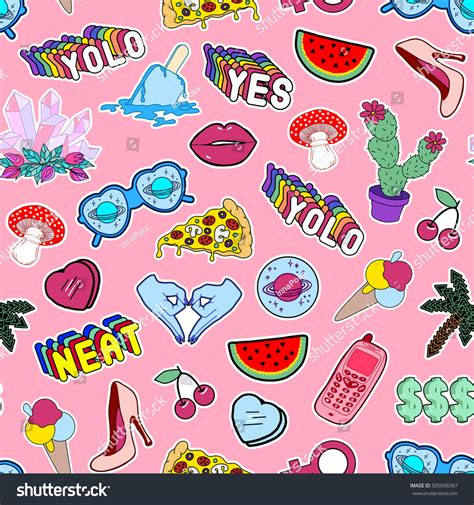 doodle meaning slang seamless pattern fashion patch badges stock vector