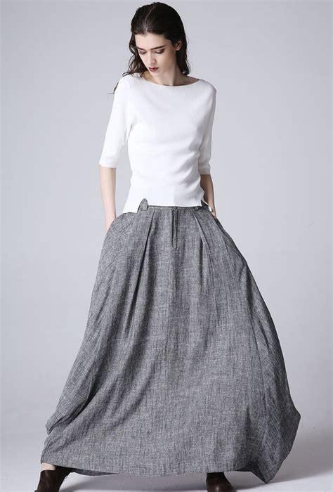 boho chic maxi skirt linen skirt grey skirt skirt
