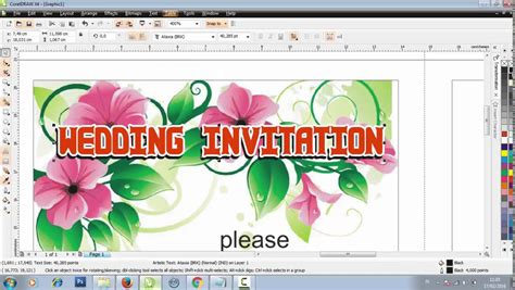 How To Design An Invitation Card Using Coreldraw | make a wedding invitation design in coreldraw youtube