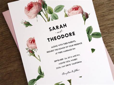 Wedding Card Design Pdf by Printable Wedding Invitations Vintage Pink Roses
