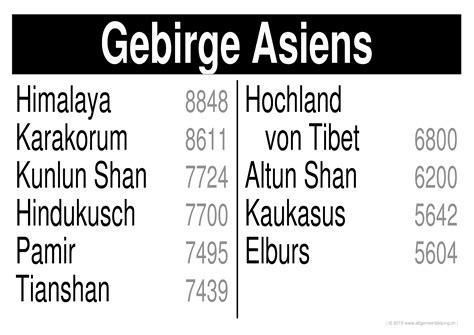 Asiat Gebirge by Geografie Lernplakate Wissensposter H 246 Chste Berge Der