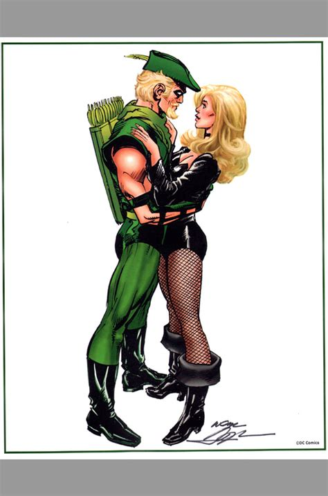 neal adams signed green arrow black canary print